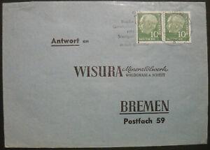 Bund Heuss lumogen MiNr. 183 y gestempelt waagerechtes Paar portogerechter Brief