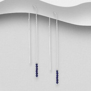 925 Sterling Silver Genuine Lapis Lazuli Thread Through Earrings Threader Women
