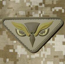 OWL HEAD PVC TACTICAL INTEL MILITARY MORALE ISAF USA MILSPEC DESERT HOOK PATCH