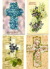 Lot of 7 Pretty Easter Cross-Flowers-Embossed Holiday Greeting Vintage Postcard