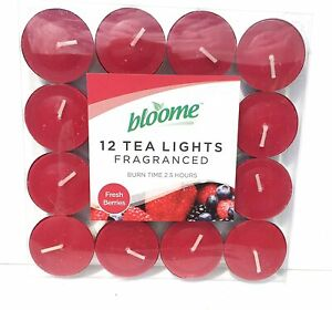 Pack of 12 Bloome Scented Tealights- Fresh Berries