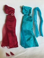 Lot Of 2 Barbie Doll Off-The-Shoulder Formal Gowns w/ Maroon Shoes & Blue Scarf