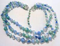 collier ancien bijou vintage perles dans les tons de couleur bleu 3 rangées C1