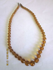 ~VINTAGE AMBER GLASS NECKLET/NECKLACE - VGC~