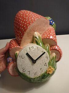 Vtg Retro 70s Ceramic Mushroom Toadstool Wall Clock Arnels 30cm Kitsch