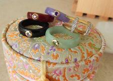 Vintage Colored Jade Rings 14K Yellow GOld & Diamond Ring Guard Sz 8