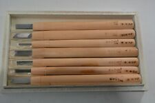 Set of 7 Japanese Wood Carving Tools boxed condition unused blue steel wood hand