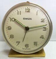 SWIZA Vintage Alarm Clock Oval Swiss Made Desk Watch