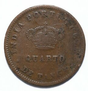 1886, India Portuguese, 1/4 Tanga, Luiz I, Copper, gF, KM# 308, Lot [655]