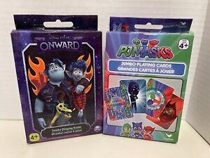 Disney Pixar Onward & PJ Masks Jumbo Playing Cards New (2 Pack)