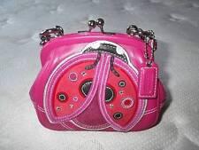 NEW Ltd Ed COACH SM RED LADY BUG FRAME KISSLOCK PINK LEATHER PURSE BAG SATCHEL