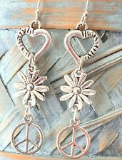 Silver Hippie Dangle Earrings. Flowers. Peace. Love.