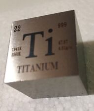 1 inch 25.4 mm Titanium metal element cube periodic table 99.5% pure 73+ grams