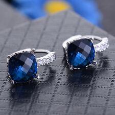 Women Fashion 925 Sterling Silver Blue Sapphire Stud Hoop Earrings Jewelry New