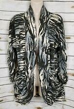 Alberto Makali Gray Animal Print Sweater Cardigan Large Draped