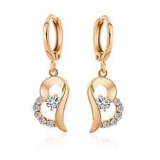 Women's Heart Dangle Earrings 18K Yellow Gold Filled Fashion Jewelry