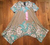 NWT Womens Chelsea & Theodore Sharkbite Stretchy Tunic Blouse Size Medium M $58