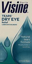 6 Pack Visine Tears Dry Eye Relief Sterile Lubricant Eye Drops 0.5 Oz Each