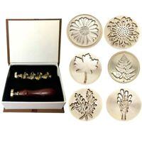 Moorlando Wax Seal Stamp Set, 6Pcs Botanical Sealing Wax Stamp Brass Heads + 1