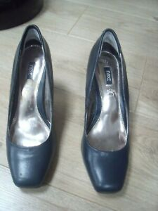 NEXT Court Shoes UK 5.5 Heels Navy Blue Leather CABIN /OFFICE