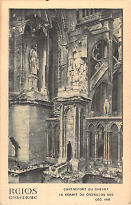 Reims Cathedral War Damage postcard RP Antony Thouret  Un-Posted 1918 A05