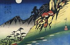 3 Japanese Woodblock Reproduction Moonlight Scenes Prints Utagawa Ando Hiroshige
