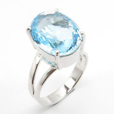 Engagement Ring Size 9 Sterling Silver Natural BLUE TOPAZ Gemstone Free Gift Box
