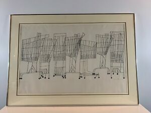 "Vintage Ben Shahn ""Super Market"" Large Framed Original Lithograph Signed"