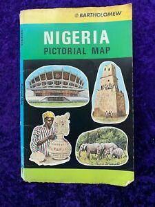 Large Vintage Coloured Bartholomew Map of Nigeria - 1980s - VGC