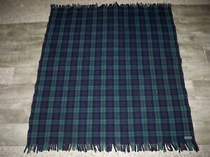"Vintage Pendleton Wool Blue & Green Plaid Throw Stadium Blanket Tartan 50"" X 42"""