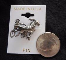 USA Standardbred Race Horse Lapel Pin Harness Driver Sulky Retro NEW