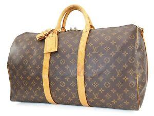 Auth LOUIS VUITTON Keepall Bandouliere 50 Monogram Canvas Duffel Bag #39831A