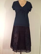 Pretty Ann Taylor Sweater~Skirt Set Embroidery & Lace Detailing Teal~Black Color