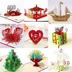 3D Greeting Card Pop Up Paper Cut Card Happy Birthday Wedding Valentine's Day