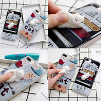3D Cartoon Cute Soft Lazy Cat Silicone Phone Case Cover For iPhone 6/6S/7 Plus