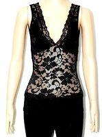 NEW WOMEN LADIES V NECK BLACK LACE FLORAL PRINT VEST TOP DRESS SIZE 6,8,10,12,14