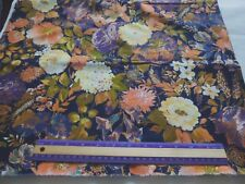 Cotton quilting fabric-large peach, green, tan, purple floral on brown-1 yd 35""