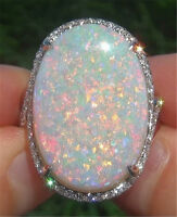 16mm Simulated Moon Stone Fire Opal 925 Silver Ring + Box