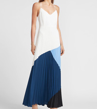 NWT Gorgeous Flowy Express Pleated White, Blue, Black Color Block Maxi Dress XS