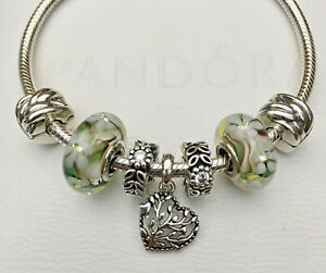 Authentic PANDORA Wild Flowers Bracelet, Clips, Spacers, Beads & Charm w/Box!!