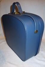 STYLISH vintage 1960's / 70's BLUE VANITY CASE / BLUE SATIN INTERIOR VGC