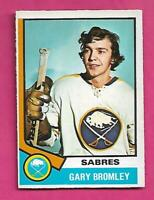 1974-75 OPC  # 7 SABRES GARY BROMLEY GOALIE ROOKIE EX-MT CARD (INV# D1972)