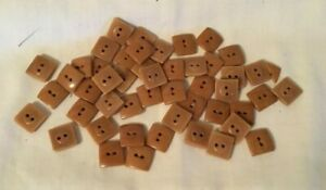 Group of 47 Plastic Tan Brown Square Buttons crafts re-purpose sewing shirt