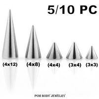 5/10 PC PACK 16G 14G Surgical Steel Externally Threaded Replacement Cone SPIKES