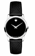 Movado Museum Classic 0607015 Black Leather/Silver Swiss Quartz Women's Watch