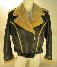 Harley-Davidson Women's Leather & Shearling Bomber Jacket Size XL