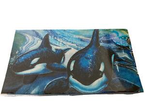 Orca Killer Whale Checkbook Cover Fabric with vinyl Custom Ocean Sea Beach Gift