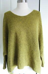 Eileen Fisher 100% Alpaca Mustard Pullover  Sweater - Boat Neck Dolman Sleeve 2X