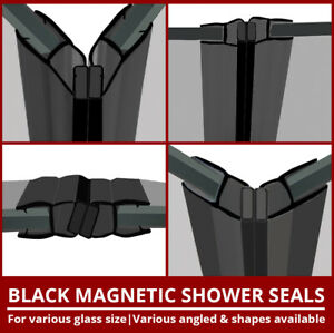 Magnetic Black Shower Seal Strips | Sold In Pairs | Vertical Door Enclosure | 2M