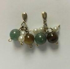 NEW HANDMADE 9ct Gold Drop Stud Earrings Green Brown Pearl Rock Bead 4g pair